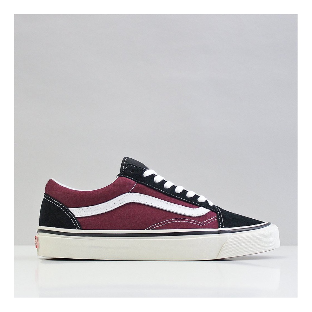 3c8c39e41e VANS OLD SKOOL 36 DX SHOES – (ANAHEIM FACTORY) BLACK OG BURGUNDY ...