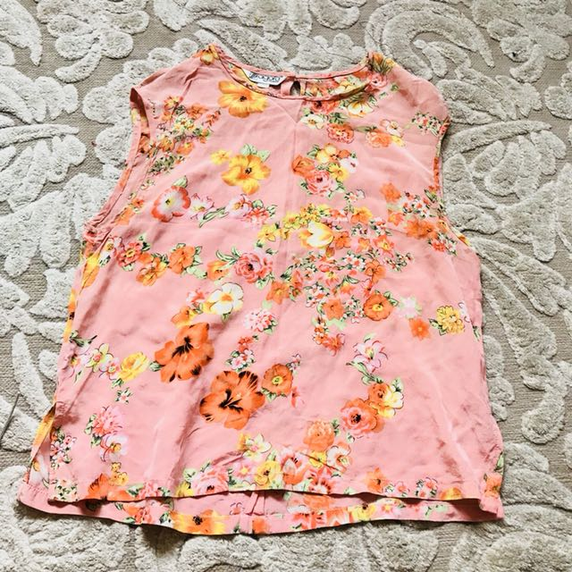 WOMENS SALMON PINK FLORAL SILK VINTAGE RETRO BLOUSE TOP - Small