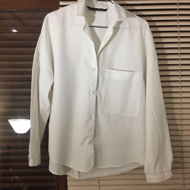 ZARA - loose shirt w/ Big Pocket