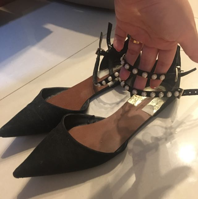 1ccf484856c Zara Pearl Ankle Pointy Flats