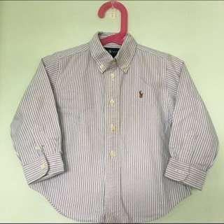 👔POLO RALPH LAUREN👔 Authentic Boys' Long Sleeve Blue Stripe Shirt (Size: 24M)
