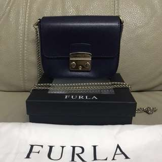 FURLA Chain Shoulder Bag Navy (Super Mini Size)
