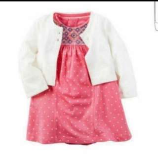 *18M* Brand New Carter's 2-Piece Bodysuit Dress & Cardigan Set