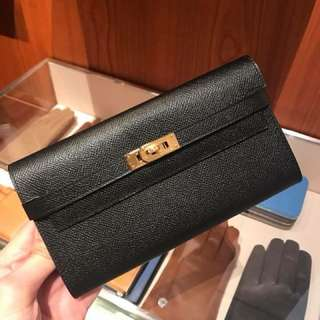 Hermes 黑金Kelly Wallet Epsom皮金釦