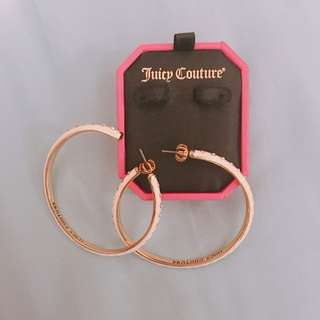 Juicy Couture White Enamel Hoop Earrings with Rhinestones