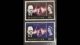 Mauritius stamps Queen Eliz Churchill 2v set