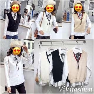 2018春裝新款韓版百搭顯瘦白襯衫馬甲兩件套set