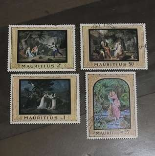 Mauritius stamps famous paintings 4v used