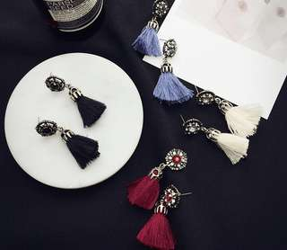 Vintage Bejeweled Tassel Earrings