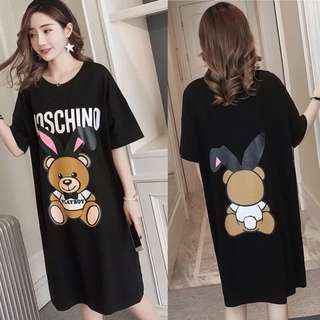 (M~XL) Moschino Printing PlayBoy Loose Fitting Cotton Dress