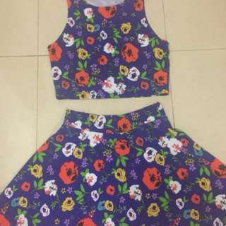 Petit Monde Floral Top and Skirt Pair