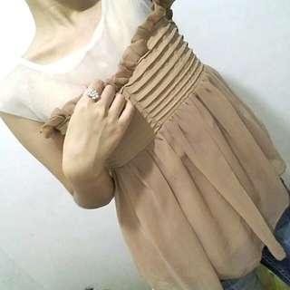NUDE SHEER BLOUSE for Formal Events