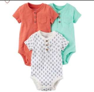 *12M* Brand New Carter's 3-Pack Short Sleeve Bodysuits For Baby Boy
