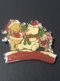 日本 迪士尼 徽章 Disney Pin 維尼 Pooh Christmas 2000