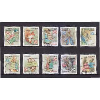JAPAN 2015 GREETINGS PETER RABBIT SET OF 10 STAMPS IN FINE USED CONDITION