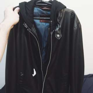 Zara Leather Hooded Jacket