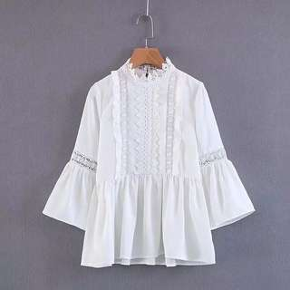 Women's lace stitching retro lace collar trumpet sleeve white lace shirt