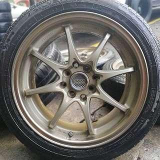 Ce28 16 inch sports rim jazz tyre 70%. Bawak kereta sampai ke johor, bro ini rim gempak bikin you tersohor!!!