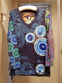 Lightly worn DESIGUAL Top, blue sequined blouse with cinched waist - 38