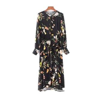 European and American style leaves flower printing lace elegant dress