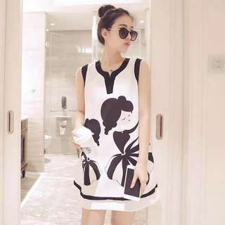 3D Cute Girl Print Dress