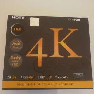 全新 Onepad 4k 24K Gold HDMI 線 1.8m