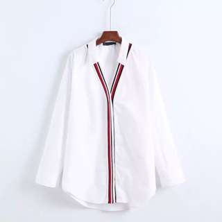 European style solid color collar red stripe hit the color V collar casual wild thread poplin shirt