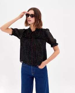 Women's 18 spring and summer new doll collar retro girl heart flower printing short-sleeved shirt