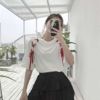 Ulzzang Ribbon Tops; Korean kpop jpop trend; woman girl women female lady ladies; working office