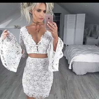 Dgf dolly girl fashion WHITE ariana lace dress
