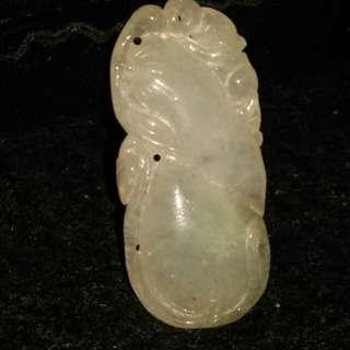 翡翠玉如意吊墜,冰糯種,雙面雕刻,保證a玉