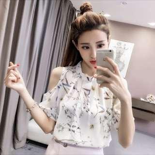 Chiffon Blouse Floral half sleeve Top; Kpop Korean trend wave; working office lady; ladies girls woman women female