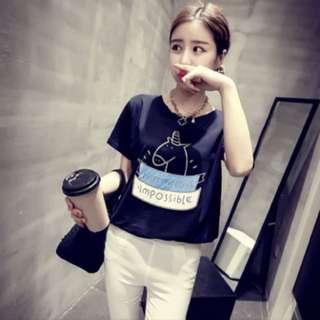 Cartoon unicorn top; shirt Tshirt Tee T blouse; Korean kpop trendy fashionable; woman women female lady ladies girl