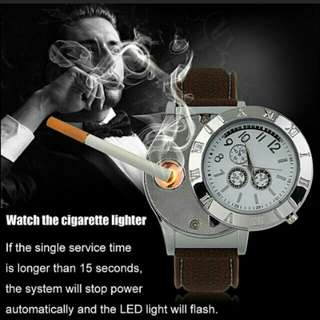 Military Men Watch USB Cigarette Rechargeable Windproof Flameless Lighter Watch With nice box usb cable