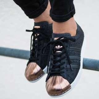 (PO) Adidas Womens Superstar Metal Toe Black Metallic Copper