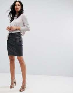 (U.P. $54.90) ASOS Vero Moda Faux Leather Zip Mini Skirt in Black