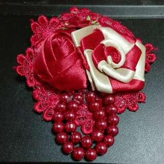 Handmake Rose Ribbon Brooch