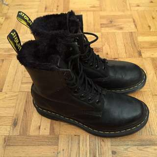 Faux Fur-lined Doc Martens