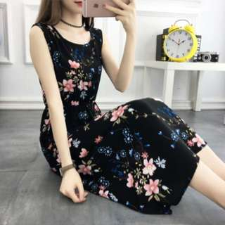 Black Floral Sleeveless Dress; ulzzang Korean kpop wave fashion trend; casual formal work office; lady ladies female women woman girl