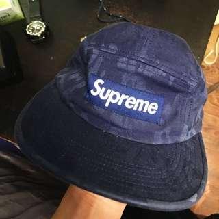 深藍暗花 supreme camp cap