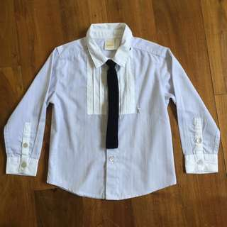 $8 Trudy & Teddy Long Sleeve Tuxedo Collared Shirt with Tie