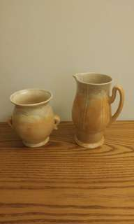 English Beswick pottery. Pitcher& vase. Numbered on base. Excellent .