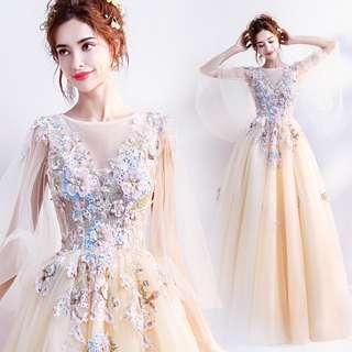 2018天使嫁衣新娘婚紗禮服新款 花仙子黃色花朵新娘婚紗敬酒服生日晚宴年會禮服