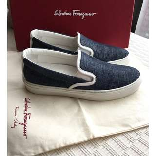 "Salvatore Ferragamo  ""demin pattern"" leather slip-on shoes *Made in Italy @Size 36-1/2"