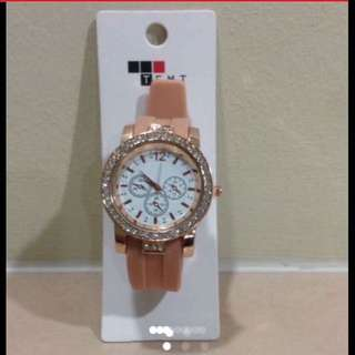 Free-size Peach Pink Rose Gold Free-Size Big Face Watch (Brand New With Tag)
