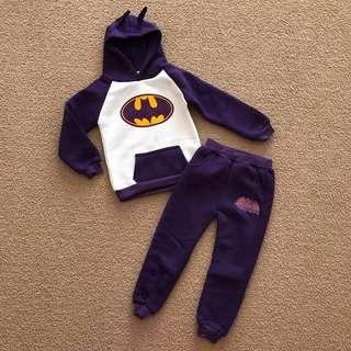 NWT Size 4 Batman Batgirl purple hoodie & track pants fleece set