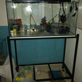 3ft fish tank with light heater and filter and stand