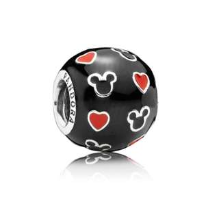 PANDORA Disney Mickey Silver Charm with black and red enamel