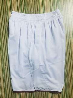 JS16 Plain football shorts white with maroon trim size large