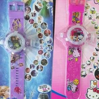 3D Cartoon Projection Watches for Girls Toys Kids Children